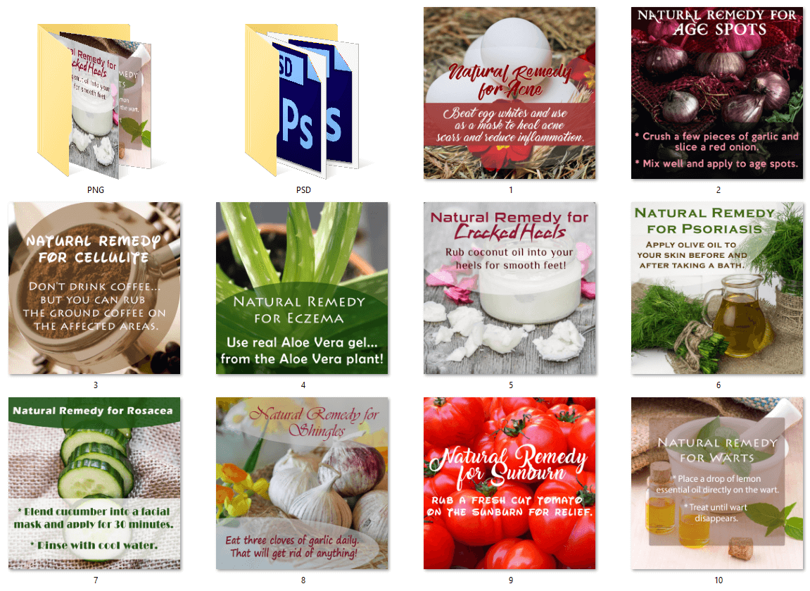 Natural Remedies for Skin Problems PLR Social Posters