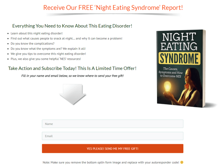 Night Eating Syndrome PLR Squeeze Page