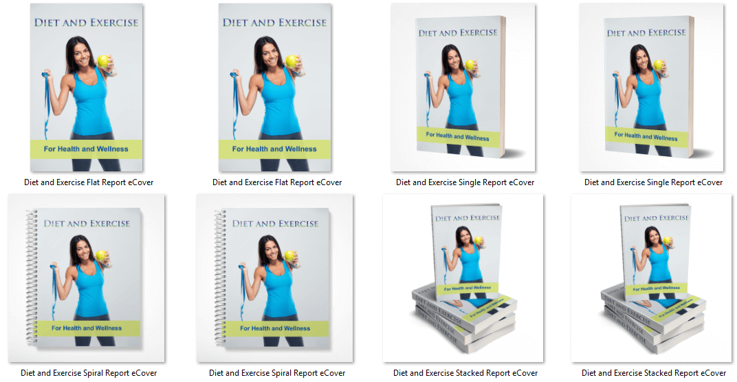 Diet and Exercise PLR eCover Graphics
