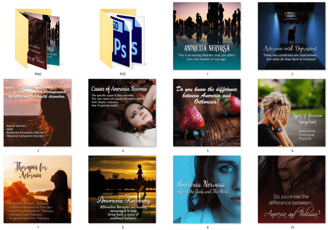 Anorexia PLR Social Posters