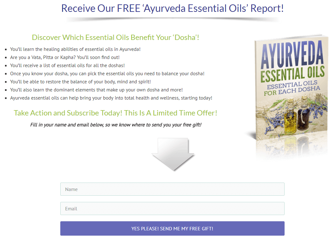 Ayurveda Essential Oils Optin Page