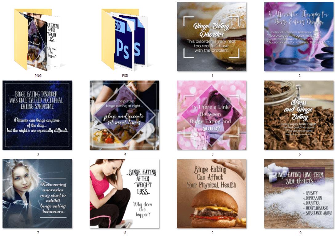 Binge Eating PLR Social Posters