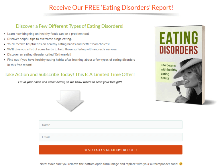 Eating Disorders PLR Squeeze Page