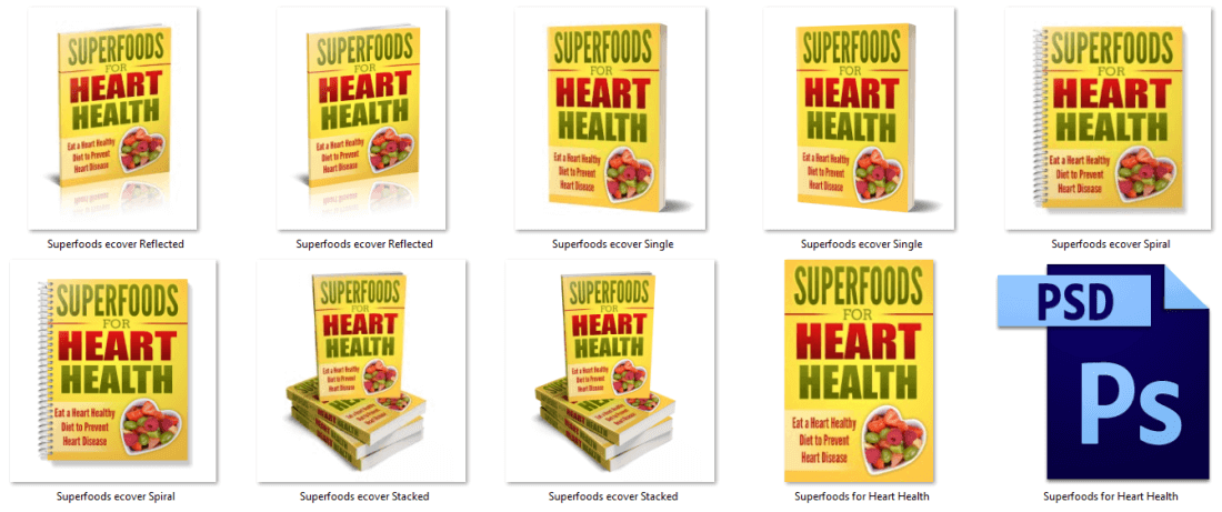 Superfoods for Heart Health ebook covers PLR
