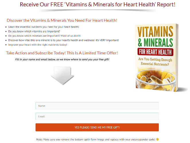 Vitamins and Minerals for Heart Health PLR Optin