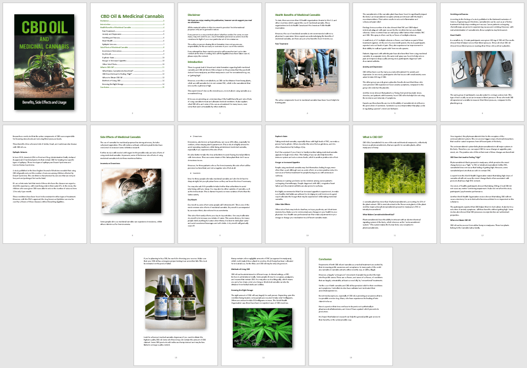CBD Oil and Medicinal Cannabis PLR Report