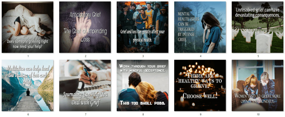 Grief and Loss PLR Social Posters