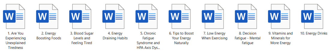 Energy and Fatigue PLR Articles
