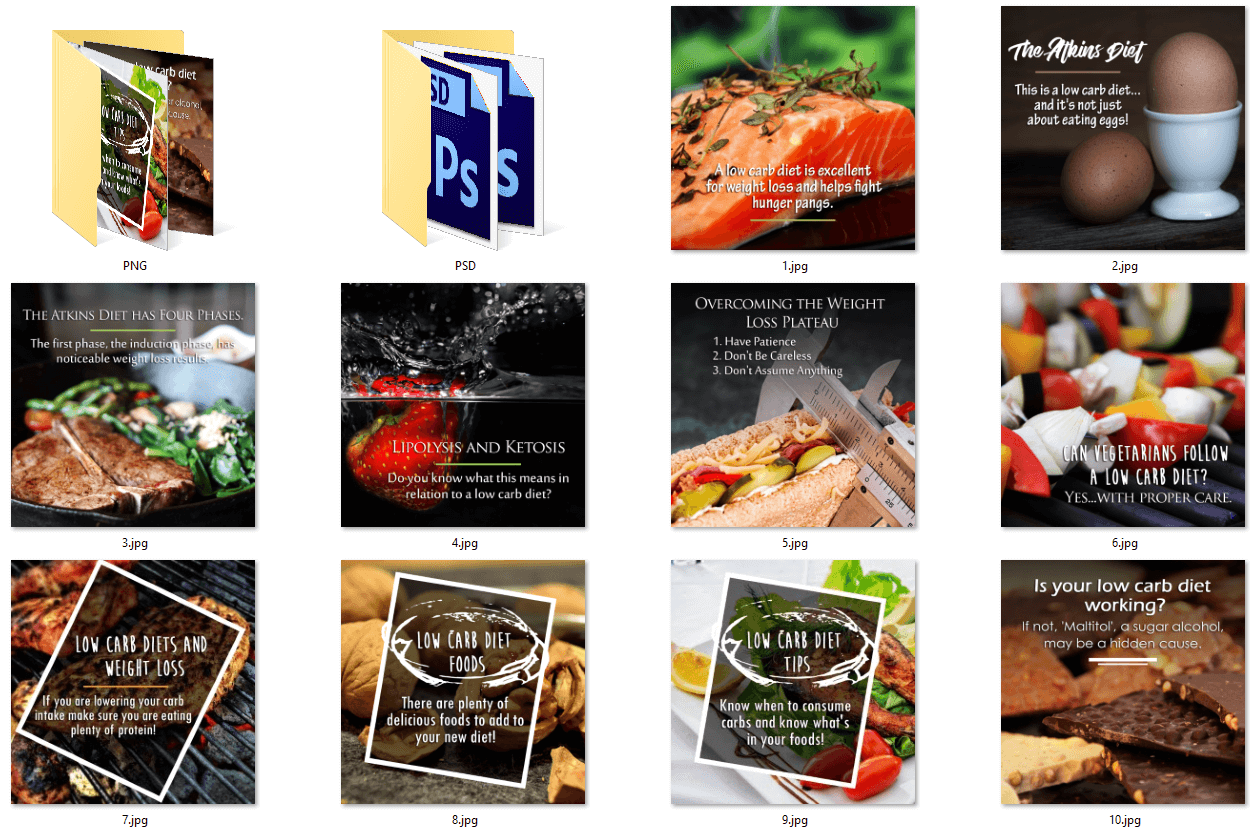 Low Carb Diet PLR Social Posters