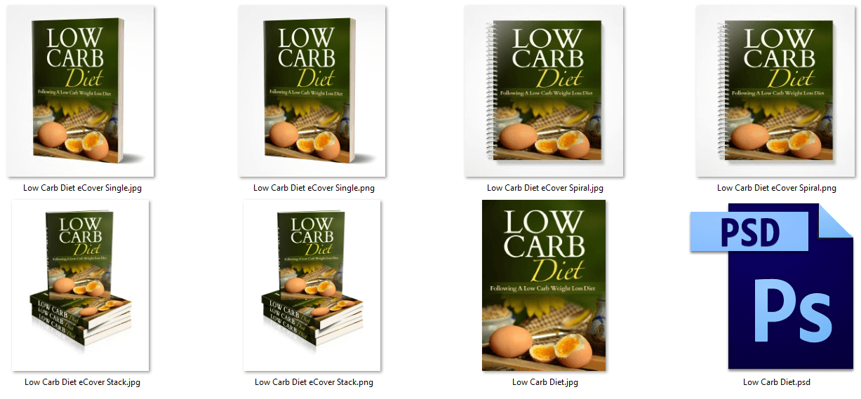 Low Carb Diet PLR eCover Graphics