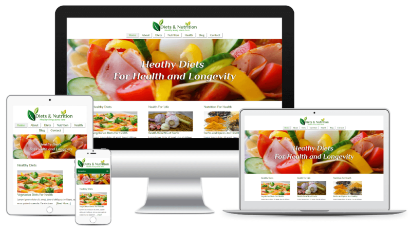 Diets and Nutrition Website Mockup