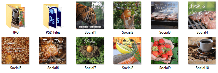 Paleo PLR Social Posters PLUS PSD Files