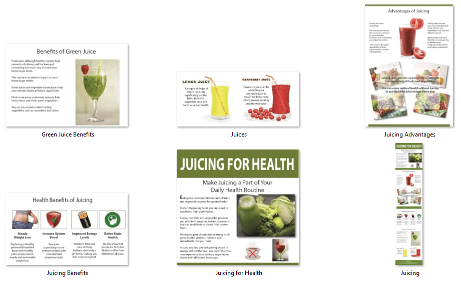Juicing PLR Infographics