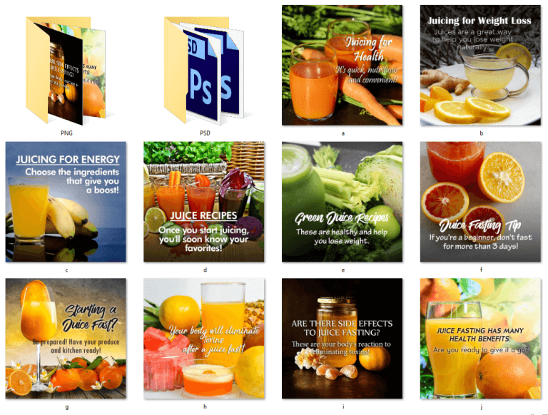 Juicing PLR Social Posters