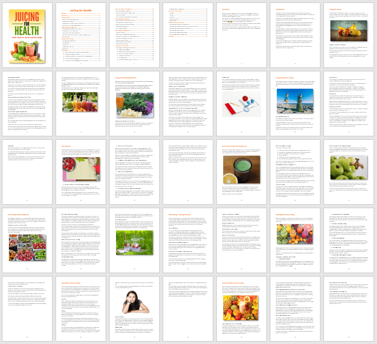 Juicing PLR eBook Contents