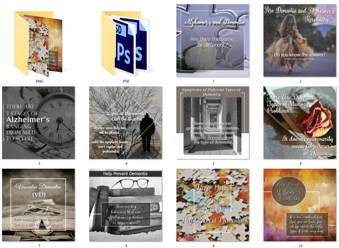 Alzheimer's and Dementia PLR Social Posters