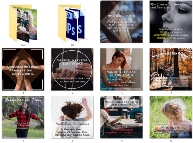 Mindfulness PLR Social Posters