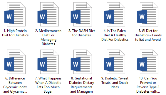 Diabetes Diet PLR Articles