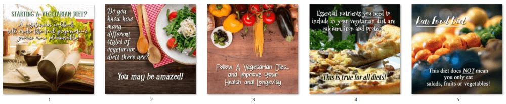 Vegetarian Diet PLR Social Posters