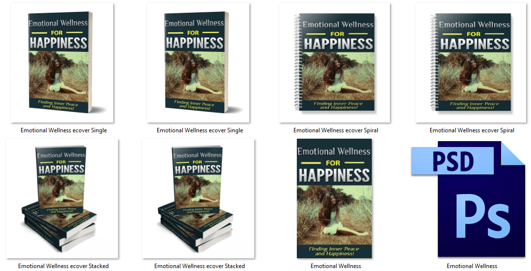 Emotional Wellness for Happiness PLR eBook Covers