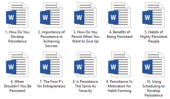 Persistence PLR Articles