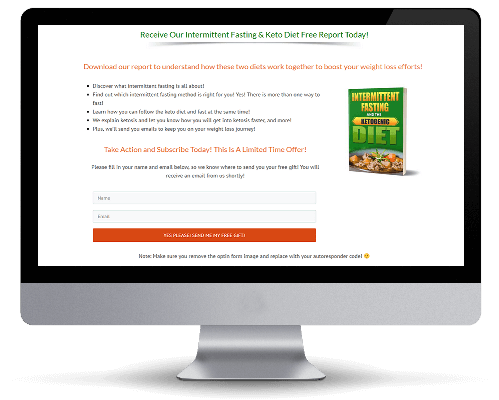 Squeeze Page for Keto Diet PLR Report