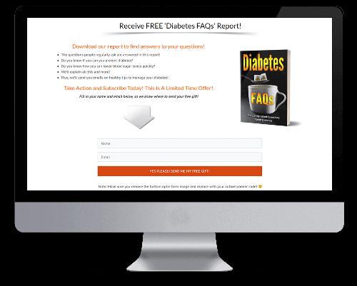 Diabetes FAQs PLR Squeeze Page