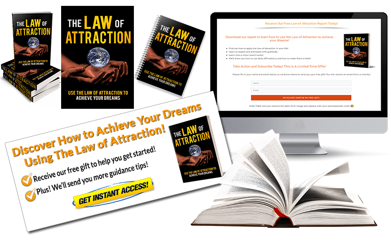 Law of Attraction PLR Squeeze Page and CTA Graphic