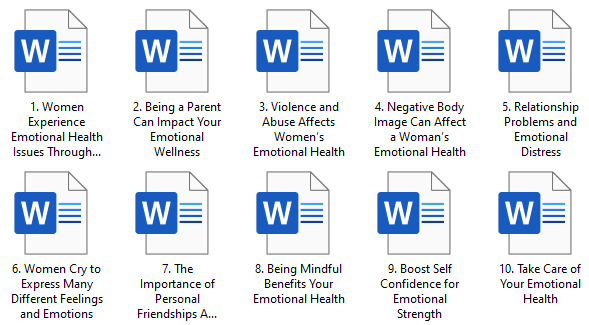 Women's Emotional Health PLR Articles