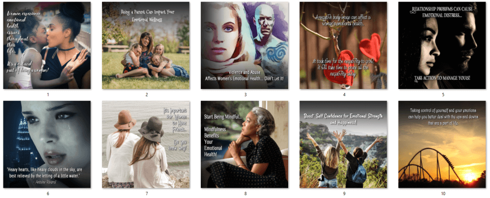 Women's Emotional Health PLR Social Posters