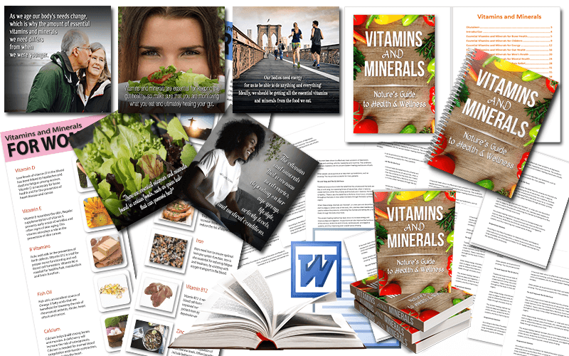Vitamins and Minerals for Health PLR Package
