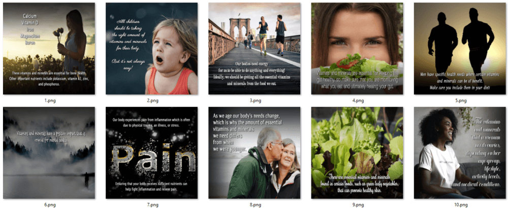 Vitamins and Minerals for Health PLR Social Posters