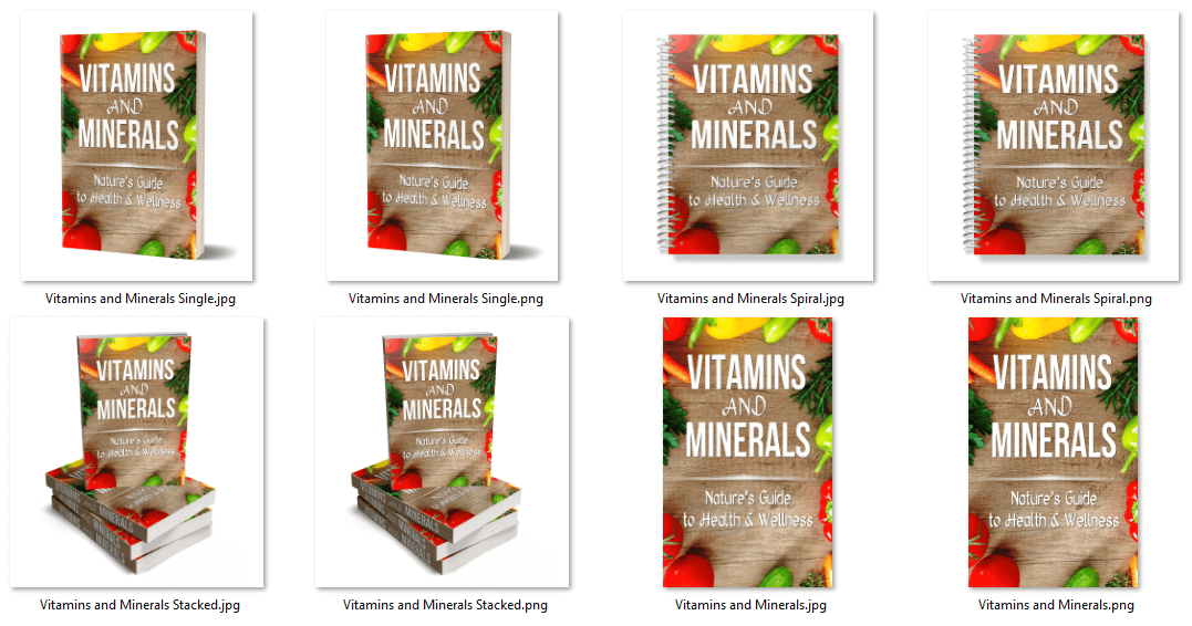 Vitamins and Minerals for Health PLR eBook Cover Graphics