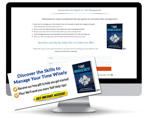 Time Management PLR Squeeze Page and CTA Graphic