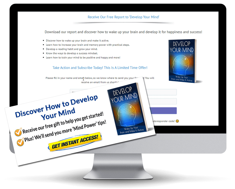 Develop Your Mind PLR Squeeze Page and CTA Graphic