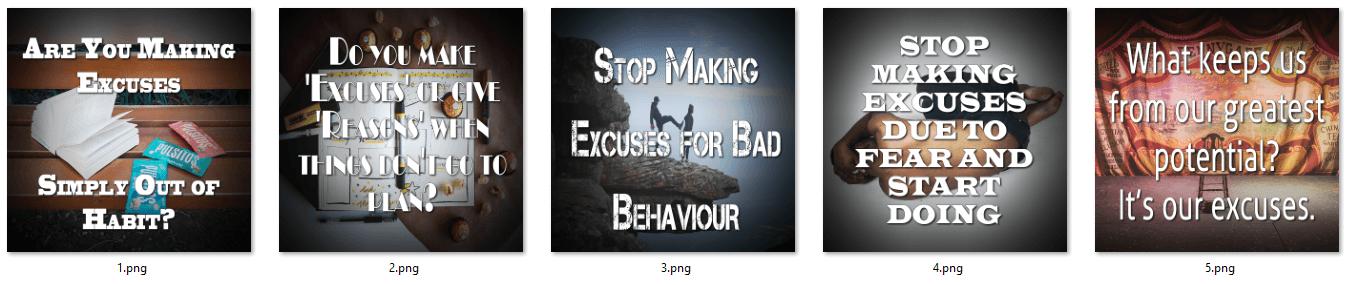 Excuses PLR Social Posters