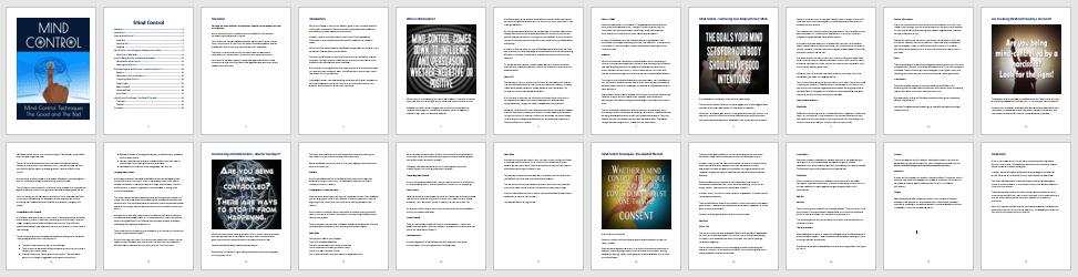 Mind Control PLR eBook Contents