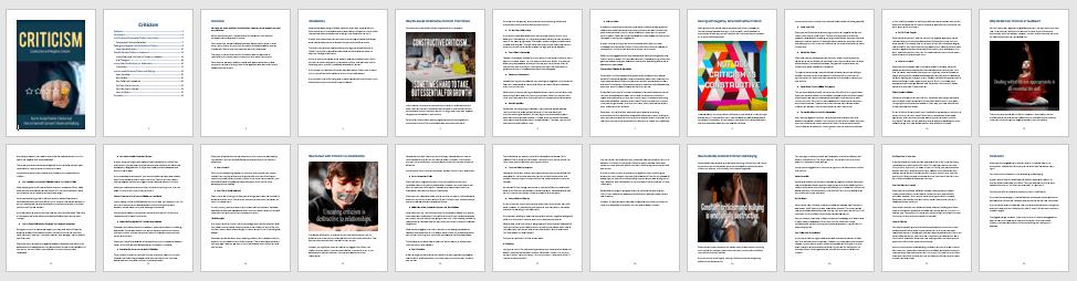 Criticism PLR eBook Contents