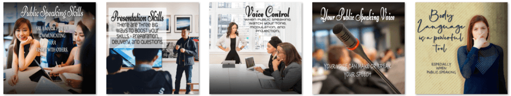 Public Speaking and Presentation Skills PLR Social Posters