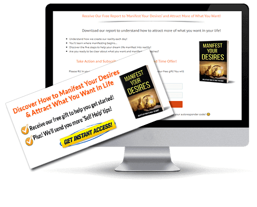 Manifest Your Desires PLR Squeeze Page and CTA Graphic