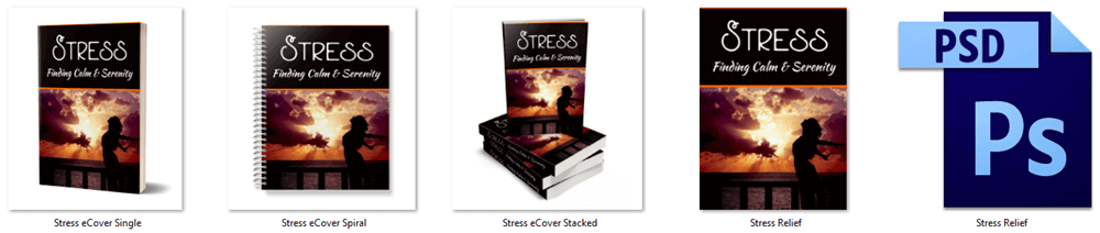Stress - Finding Calm and Serenity PLR Report eCover Graphics
